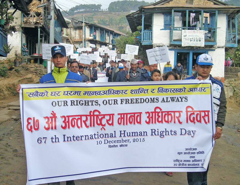 A morning procession organised to mark 67th International Human Rights Day in Diktel, headquaters of Khotang district, on Thursday, December 10, 2015. Photo: RSS