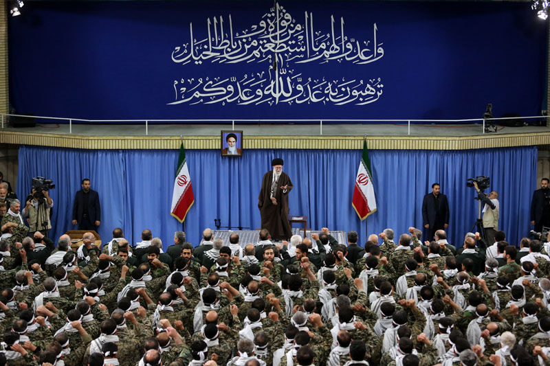 An official website of the office of the Iranian supreme leader shows Supreme Leader Ayatollah Ali Khamenei gestures during a meeting with commanders of paramilitary division of the elite Revolutionary Guard in Tehranon Wednesday, November 25, 2015. Photo: AP