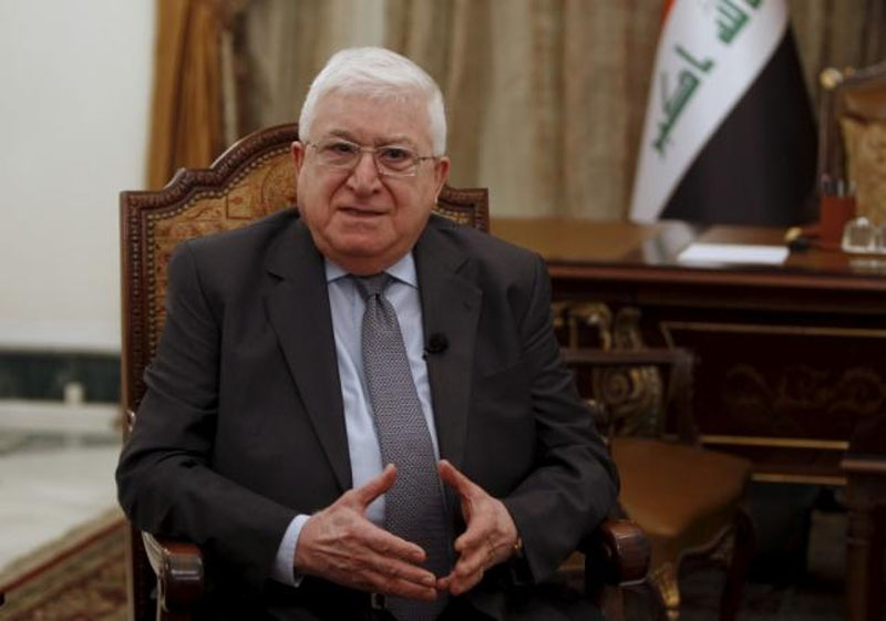 Iraq's President Fouad Massoum speaks during an interview with Reuters at the presidential palace in Baghdad on March 25, 2015. Photo: Reuters