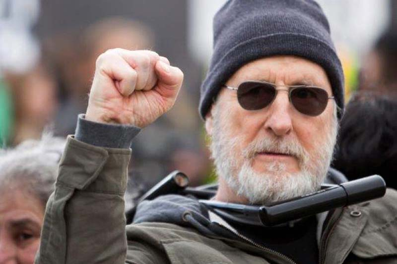 Actor James Cromwell protests at a power plant that is under construction in Wawayanda,  New York, on Friday, December 18, 2015. Photo: Times Herald-Record via AP