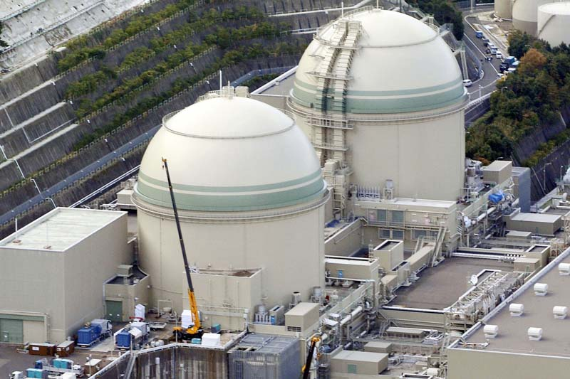 This photo shows No. 3, left, and No. 4 reactors at a nuclear power plant in Takahama, Fukui prefecture, in western Japan on November, 2014. Photo: Kyodo News via AP/ File