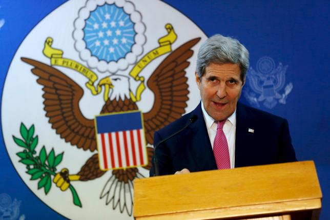 U.S. Secretary of State John Kerry delivers remarks at the Fulbright Center in Nicosia, Cyprus, December 3, 2015. REUTERS/Jonathan Ernst