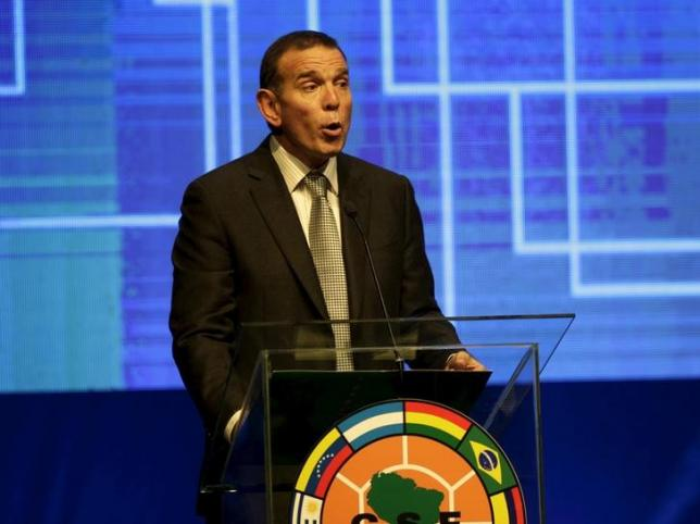 Juan Angel Napout, president of the South American Football Confederation (CONMEBOL) speaks before the draw of the 2015 Copa Sudamericana tournament at the CONMEBOL headquarters in Luque, on the outskirts of Asuncion July 16, 2015. REUTERS/Jorge Adorno/Files