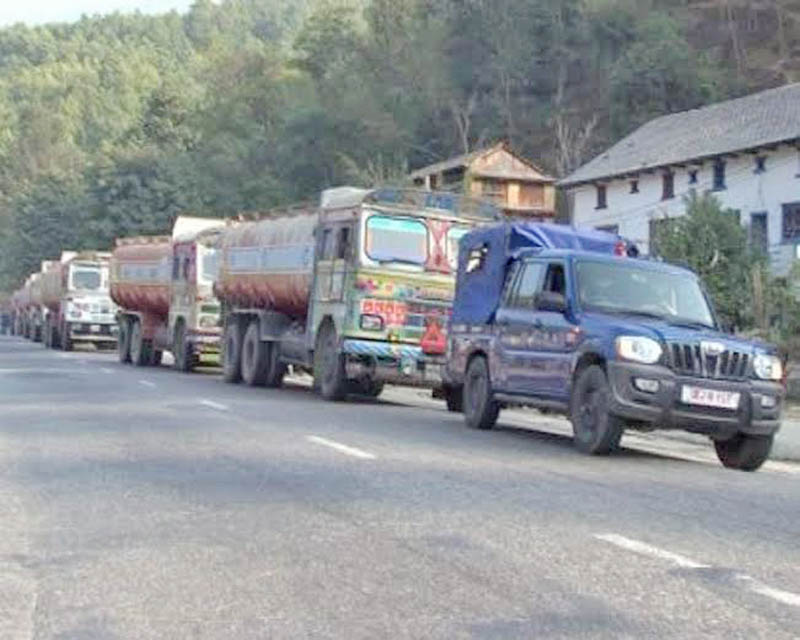 The oil-laden trucks queued at Junge Khola of Dhading district along the Prithvi Highway, on Tuesday, December 24, 2015. Photo: Keshav Adhikari