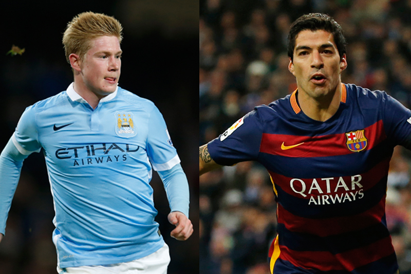 Kevin De Bruyne (left) and Luis Suarez. Photos: Reuters