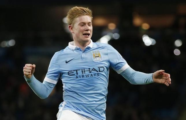 Football Soccer - Manchester City v Hull City - Capital One Cup Quarter Final - Etihad Stadium - 1/12/15. Kevin De Bruyne celebrates scoring the fourth goal for Manchester City. Reuters / Phil Noble