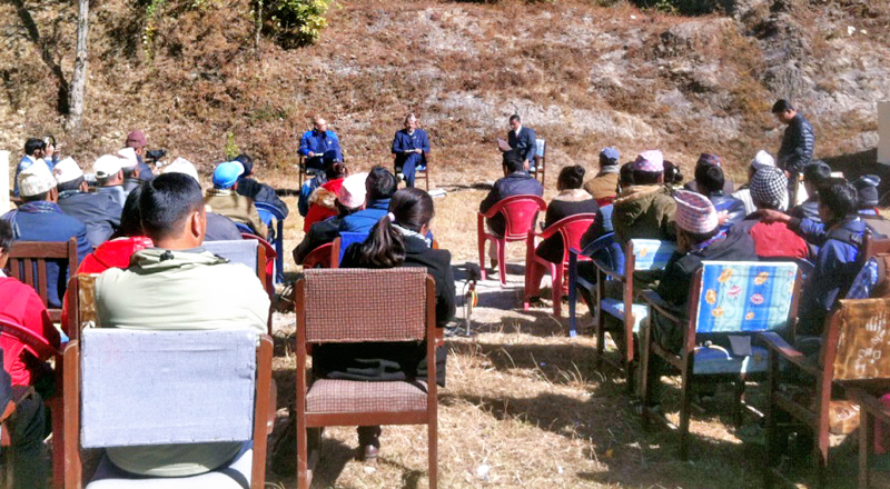 Landslide victims participating in a public hearing programme in Bagkhor,  Dadeldhura, on Sunday, December 27, 2015. Photo: THT