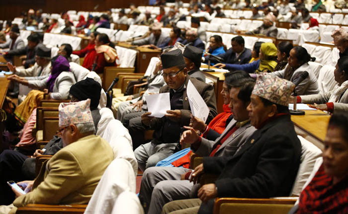 Lawmakers taking part in House meeting to hold discussion on the Reconstruction Authority Bill, which was endorsed unanimously, on Wednesday, December 16, 2015. Photo: Skanda Gautam