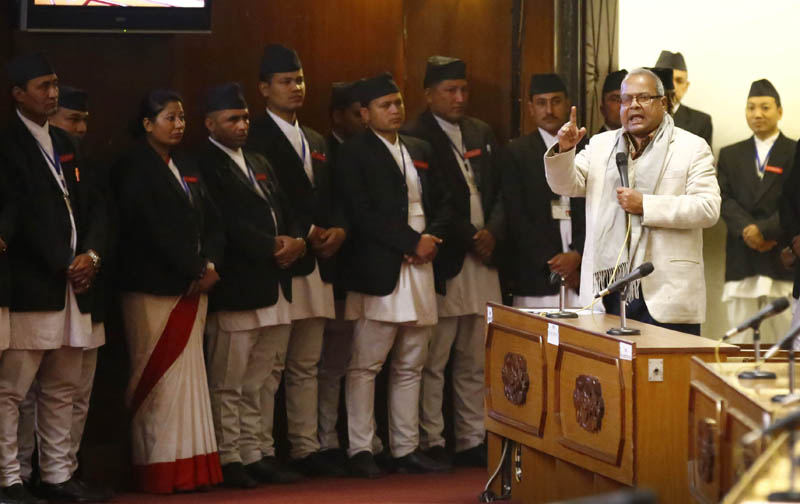 Sadbhawana Party Co-Chairman Laxman Lal Karna speaking at the Legislature-Parliament on behalf of the Madhesi parties, before walking out of the House on Wednesday, December 16. Photo: Skanda Gautam.
