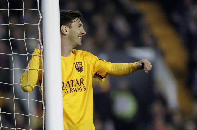 Football Soccer - Valencia v Barcelona - Spanish Liga - Mestalla Stadium, Valencia, Spain - 5/12/15. Barcelona's Lionel Messi reacts. REUTERS/Heino Kalis