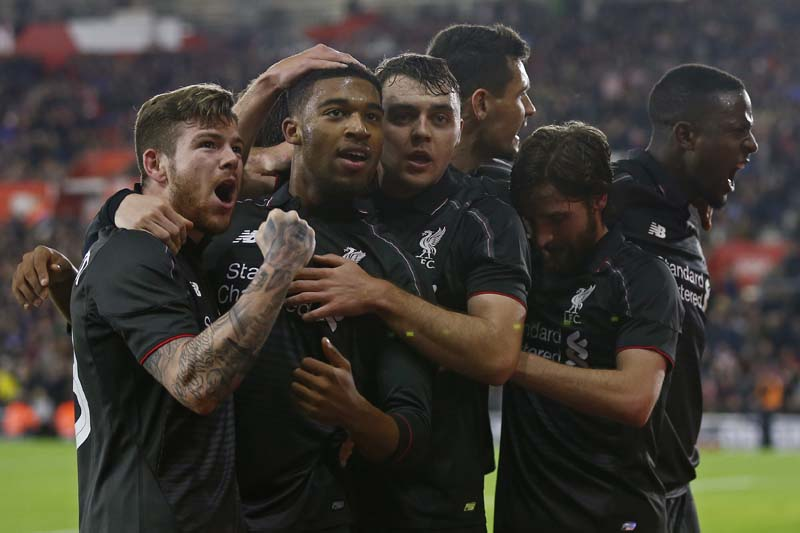 Jordon Ibe celebrates with team mates after scoring the fifth goal for Liverpooln against Southampton during the Capital One Cup Quarter Final at the St Mary's Stadium on December 2, 2015. Photo: Reuters