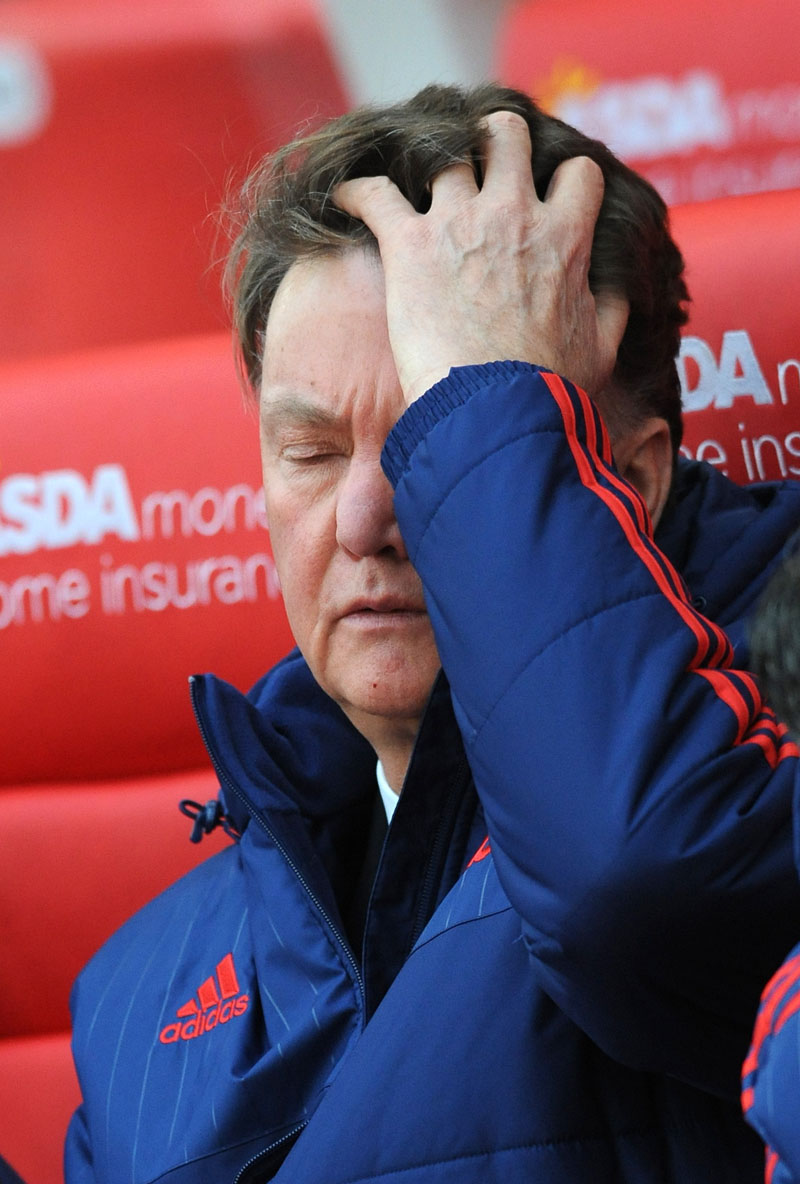 Manchester United manager Louis van Gaal gestures during the English Premier League soccer match between Stoke City and Manchester United at the Britannia Stadium, Stoke on Trent, England, on Saturday, December 26, 2015. Photo: AP
