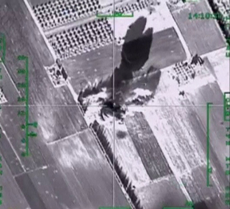 A frame grab taken from footage released by Russia's Defence Ministry December 4, 2015, shows air strikes carried out by Russia's air force hitting a militant base, which, according to the ministry, is controlled by the Islamic State militants, in Idlib in Syria. Photo: Ministry of Defence of the Russian Federation via Reuters