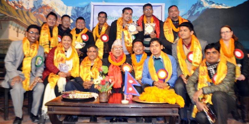 CPN-UML leader and former Prime Minister Madhav Kumar Nepal in a welcome programme organised by Youth Association Journalist Nepal for newly elected Trekking Agencies Association Nepal (TAAN) committee's office bearers and members in the Capital, on Tuesday, December 22, 2015. Photo: RSS