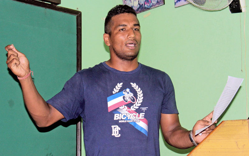 Boxer Manohar Basnet of Lalitpur gestures during a press conference in Kathmandu on Tuesday. Photo: THT