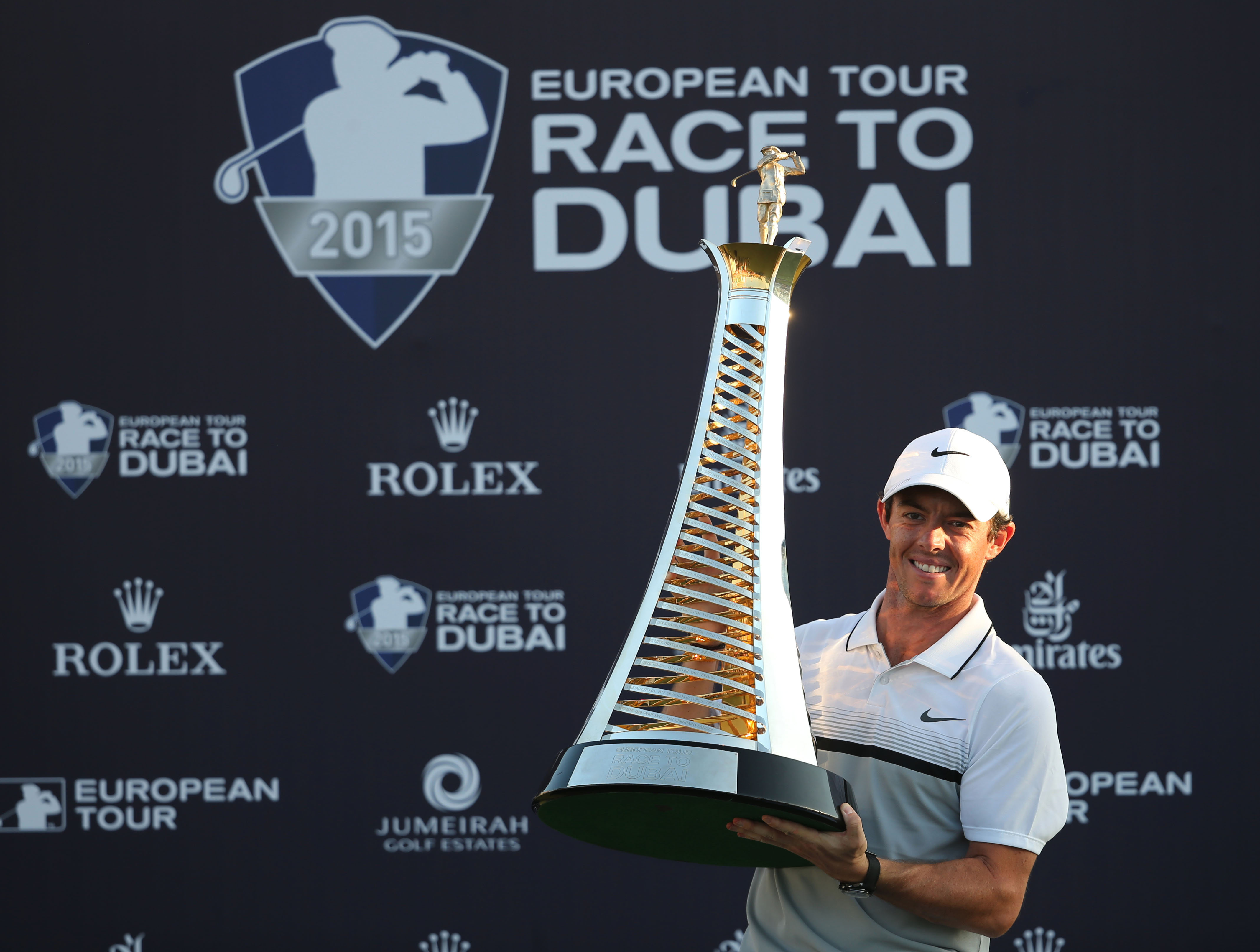 FILE - In this Sunday Nov. 22, 2015 file photo, Rory McIlroy of Northern Ireland poses with the Race to Dubai trophy after winning the final round of DP World Tour Championship golf tournament in Dubai, United Arab Emirates. Photo: AP