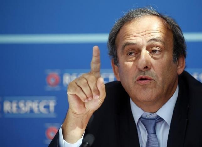 UEFA President Michel Platini attends a news conference after the draw for the 2015/2016 UEFA Europa League soccer competition at Monaco's Grimaldi Forum in Monte Carlo, Monaco August 28, 2015.   REUTERS/Eric Gaillard/Files
