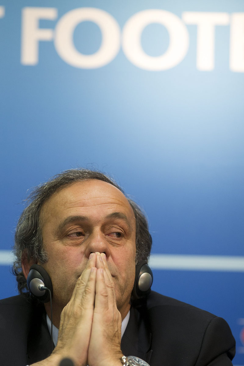 UEFA President Michel Platini answers to media during a press conference after the UEFA Executive Committee Meeting, at the  Headquarters, in Nyon, Switzerland on January 25, 2013.  Michel Platini lost his appeal against a 90-day ban by FIFA on Friday December 11, 2015 , as Swiss federal prosecutors stepped up a criminal investigation of his $2 million payment from socceru2019s scandal-hit governing body. Photo: AP