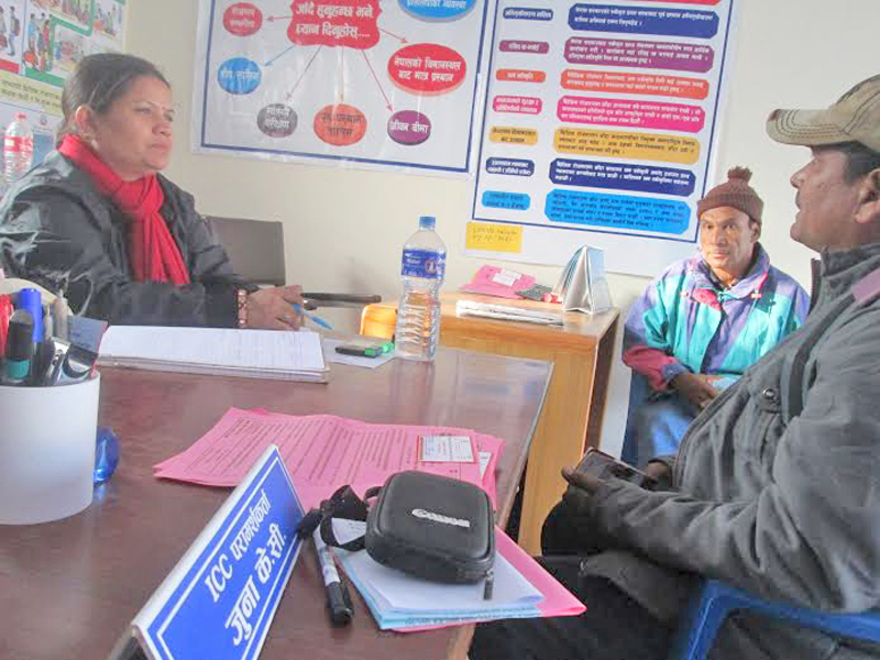 Deu Bahadur BK and his relatives visit the Safe Migration Counselling Centre in Pokhara of Kaski district in a bid to bring his son back to the country from Malaysia, on Wednesday, December 16, 2015. Photo: Rishi Ram Baral