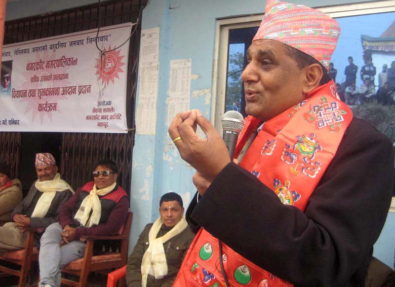 Minister for Culture, Tourism and Civil Aviation Ananda Prasad Pokharel speaks at a function in Nagarkot of Bhaktapur, on Saturday, December 5, 2015. Photo: RSS