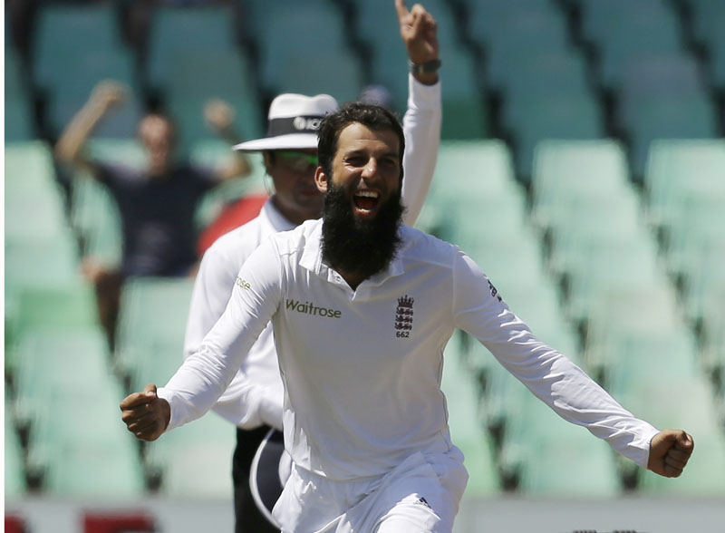 England's Moeen Ali celebrates after taking a wicket against South Africa on the fifth day of their first Test match in Kingsmead, Durban on Wednesday.Photo: AFP
