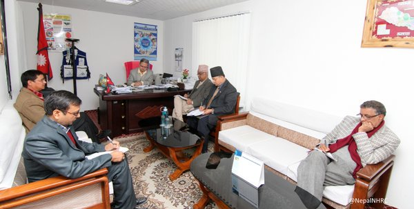 A delegation of National Human Rights Commission (NHRC) holds an interaction with Health Minister Ram Janam Chaudhary at the Ministry of Health and Population (MoHP) on Friday, December 4. Courtesy: Twitter.com/ NHRC Nepal