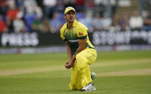 Cricket - England v Australia - NatWest International T20 - SSE SWALEC Stadium, Cardiff, Wales - 31/8/15. Australia's Nathan Coulter Nile after catching out England's Jason Roy (not pictured). Action Images via Reuters / Andrew Boyers