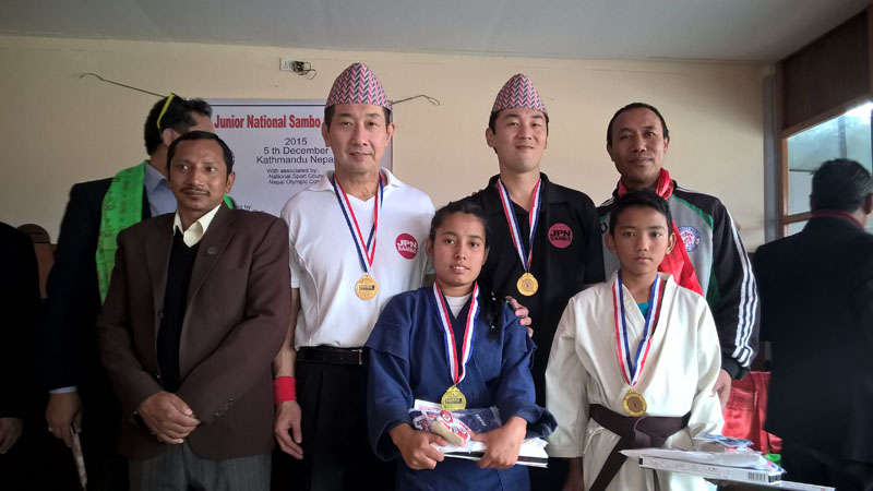 1st Junior National Sambo Champions Sarika Theeng and Dinesh Chhantyal on December 5, 2015. Photo: THT Online
