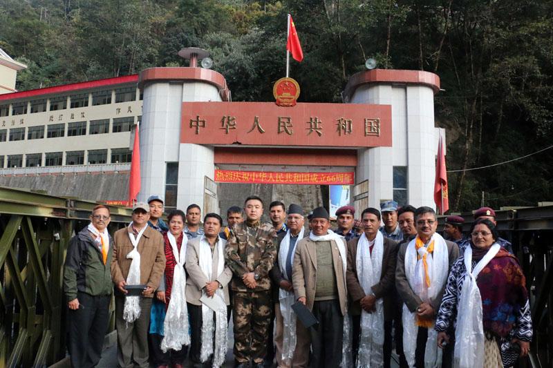 A team on study of Araniko Highway at Tatopani in Nepal-China border on Saturday, December 12, 2015. Photo: RSS
