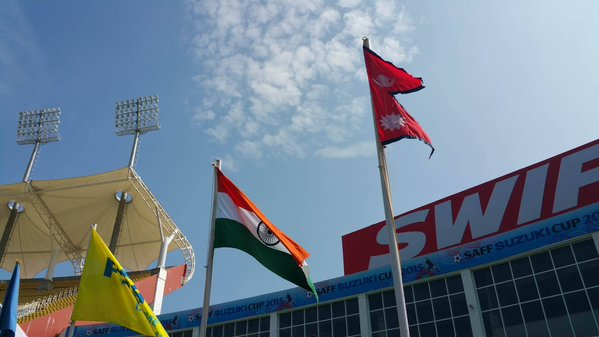 Flags of Nepal and India fly at Trivandrum Stadium before the SAFF Championship Group A match between Nepal and India on Sunday, December 27. Photo: SAFF