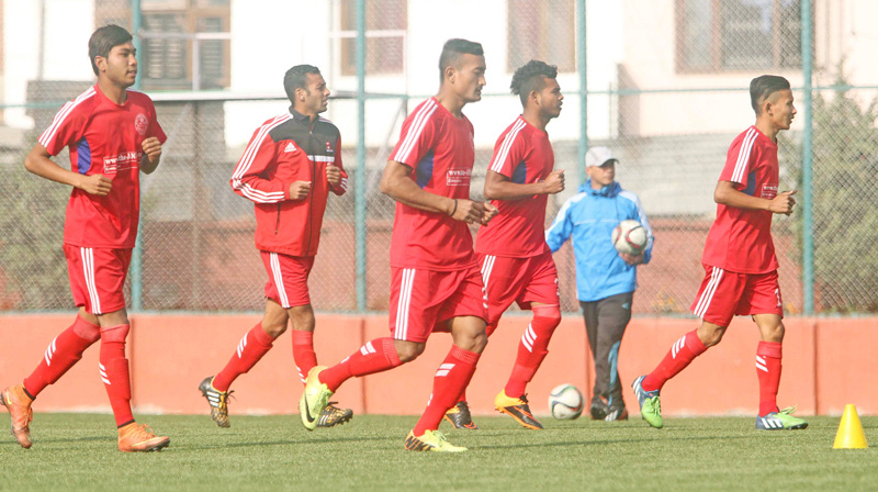 Nepal national team players take part in a training session as they prepare for the eighth SAFF Championship, at the ANFA Complex in Lalitpur. Photo: Udipt Singh Chhetr/THT
