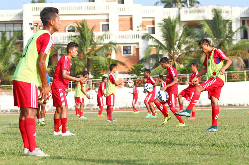 Nepal national football team members take part in training session in Trivandrum on Saturday, on the eve of their ninth SAFF Championship Group A match against India. Photo: Courtesy ANFA