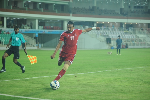 Rohit Chand of Nepal in first half. Photo: Anil Ghimire/THT