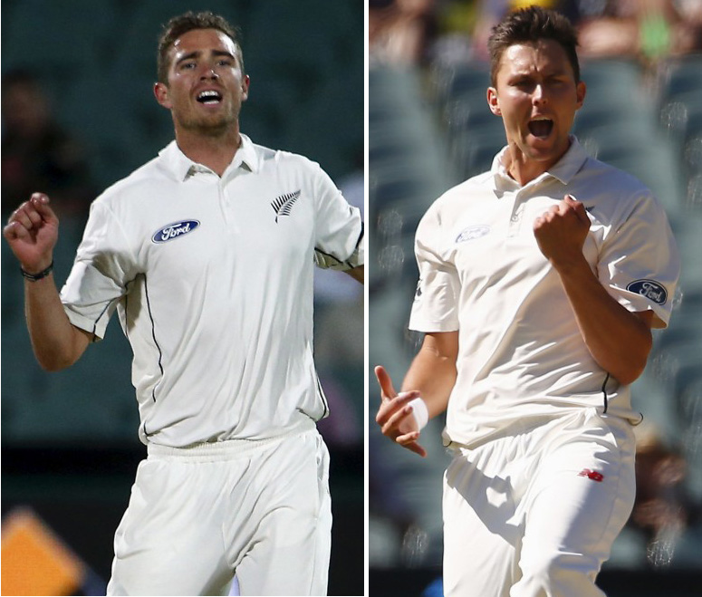 New Zealand's Pace bowlers Tim Southee (left) and Trent Boult in this file photo. Courtesy: Reuters