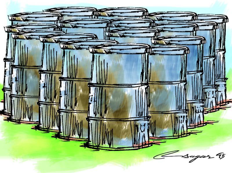 Oil barrels. Illustration: Ratna Sagar Shrestha/THT