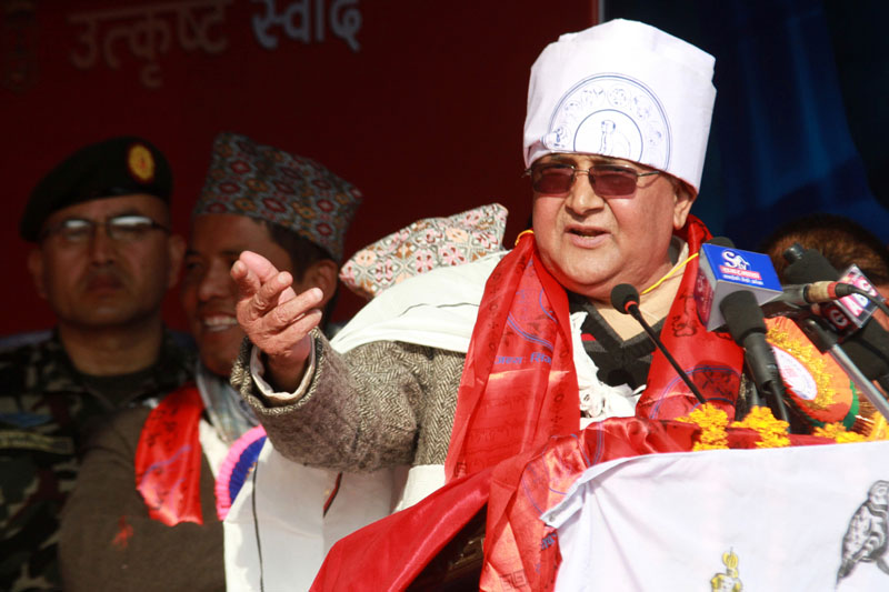 Wearing trational Tamu costume, Prime Minister KP Sharma Oli addresses a function at Tundikhel, organised to mark the Tamu Lhosar, on Wednesday, December 30, 2015. Photo: RSS