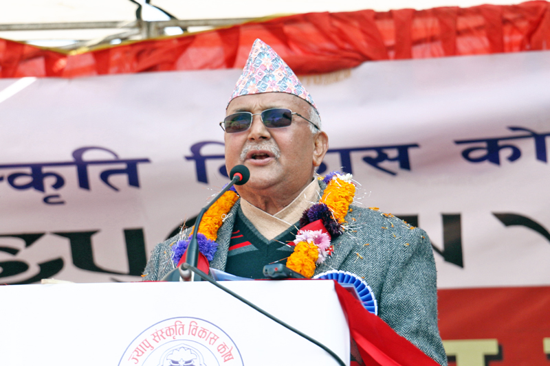 Prime minister KP Sharma Oli speaks on the occassion of 12th Jyapu Diwas organised by Jyapu Cultural Development Fund in Capital on Friday, December 25, 2015. Photo: RSS
