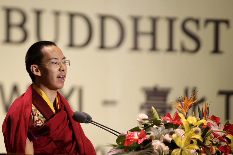 The Panchen Lama, Gyaltsen Norbu, delivers a speech during the opening ceremony of the second World Buddhist Forum at the Buddhist Palace in Wuxi, on March 28, 2009. Photo: Reuters/ File