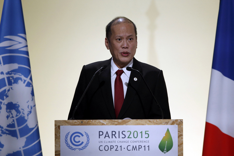 Philippine's President Benigno Aquino delivers a speech during the opening session of the World Climate Change Conference 2015 (COP21) at Le Bourget, near Paris, France, November 30, 2015. Photo: Reuters