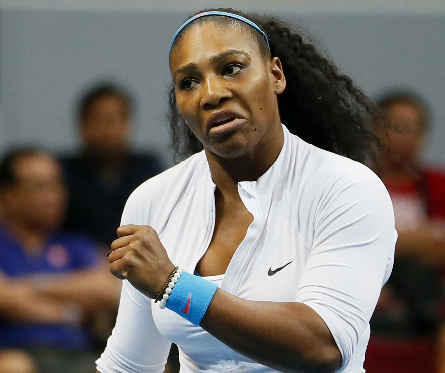 Serena Williams of the Philippine Mavericks reacts to her losing a point against Ana Ivanovic during the women's singles match of the 2015 International Premier Tennis League (IPTL) Sunday, Dec. 6, 2015. Photo: AP