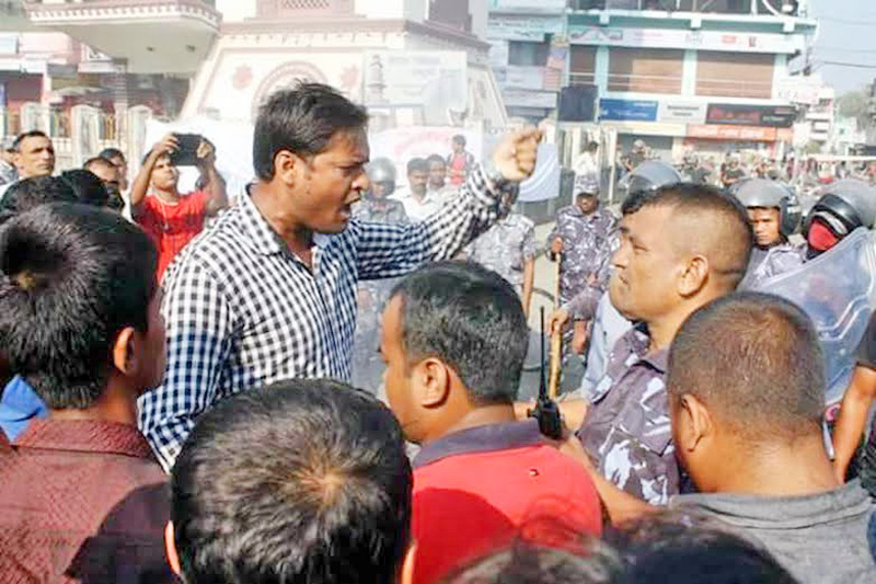 Police arresting the people for their involvement in vandalising the Narayani Sub-Regional Hospital in Birgunj of Parsa district, on Monday, December 7, 2015. Photo: Ram Sarraf