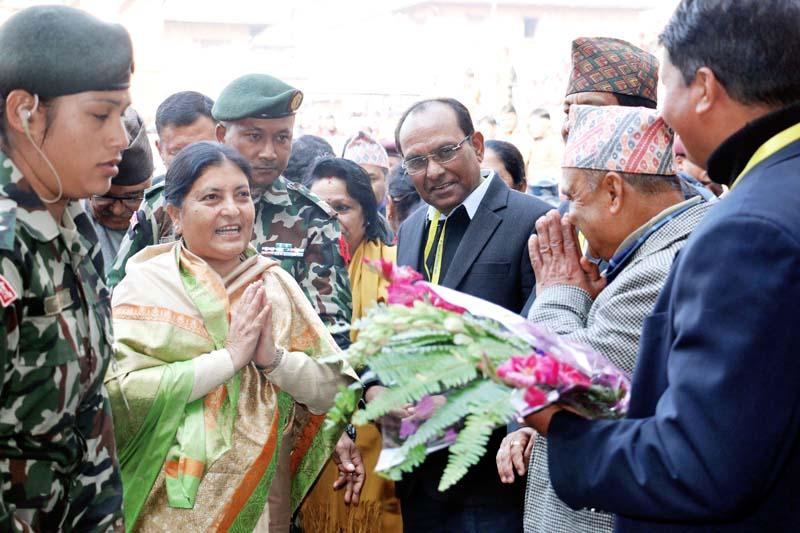 Officials of the Pashupati Area Development Trust (PADT) greet President Bidya Devi Bhandari during her visit to the Pashupatinath Temple on Monday, December 28, 2015. Photo: RSS