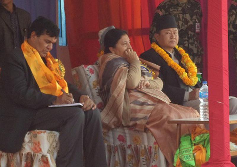 President Bidya Devi Bhandari (centre) at the golden jubilee function of Bhojpur Multiple Campus in Bhojpur, on Wednesday, December 23, 2015. Photo: Niroj Koirala