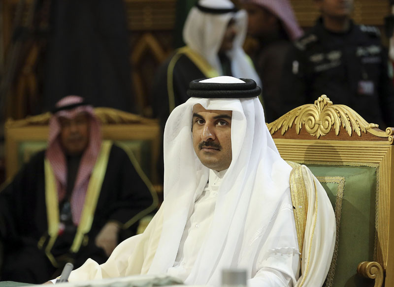 Qatar Emir Sheik Tamim bin Hamad Al-Thani (centre) attends the closing session of the 36th Gulf Cooperation Council Summit in Riyadh, Saudi Arabia on Thursday, December 10, 2015. Photo: AP