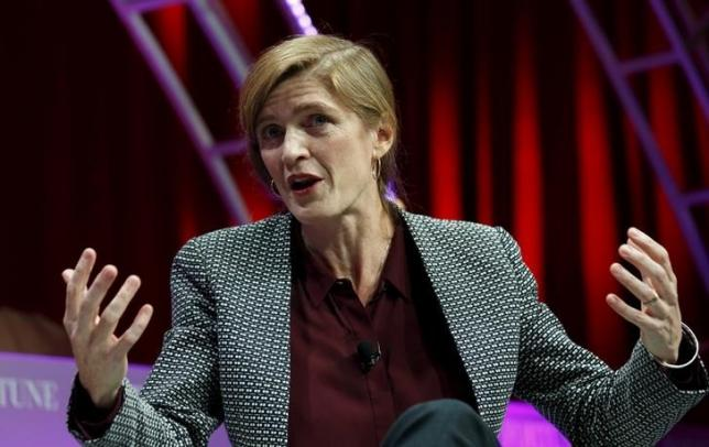 U.S. Ambassador to the United Nations Samantha Power speaks at Fortune's Most Powerful Women's Summit in Washington October 14, 2015.  REUTERS/Kevin Lamarque