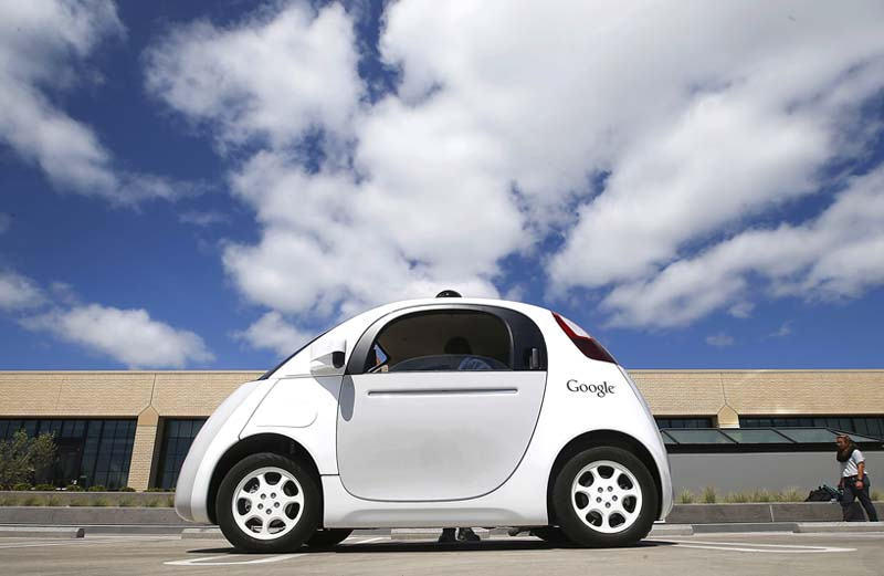Google's prototype of new self-driving car is presented during a demonstration at the Google campus in Mountain View, California on May 13, 2015. Photo: AP/ File