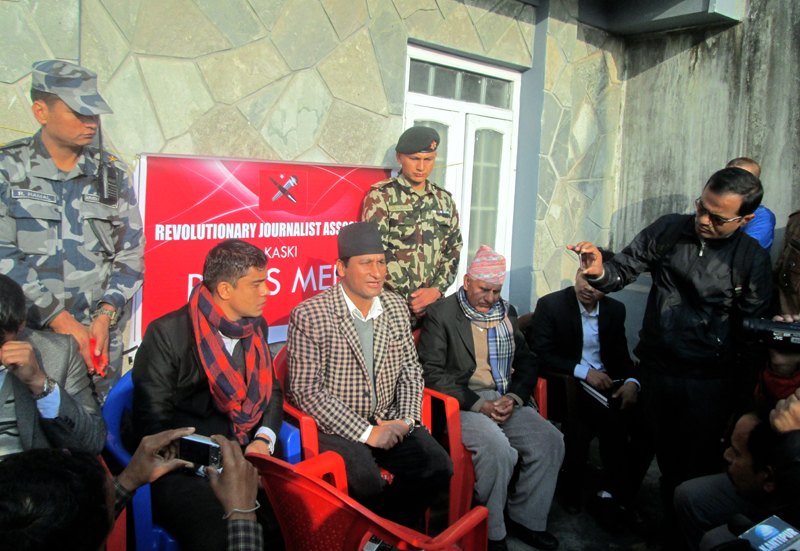Minister for Home Affairs Shakti Bahadur Basnet speaking at a press meet organised by the Revolutionary Journalist Association Kaski chapter in Pokhara, on Thursday, December 10, 2015. Photo: Rishi Ram Baral