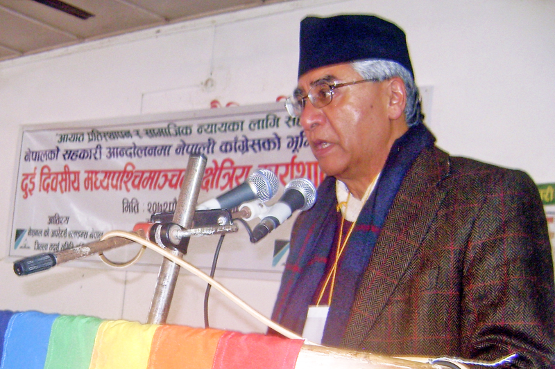 Former Prime Minister and Senior Leader of Nepali Congress Sher Bahadur Deuba speaks during a program organised by party in Gularia, Dang on Sunday, December 27, 2015. Photo: RSS