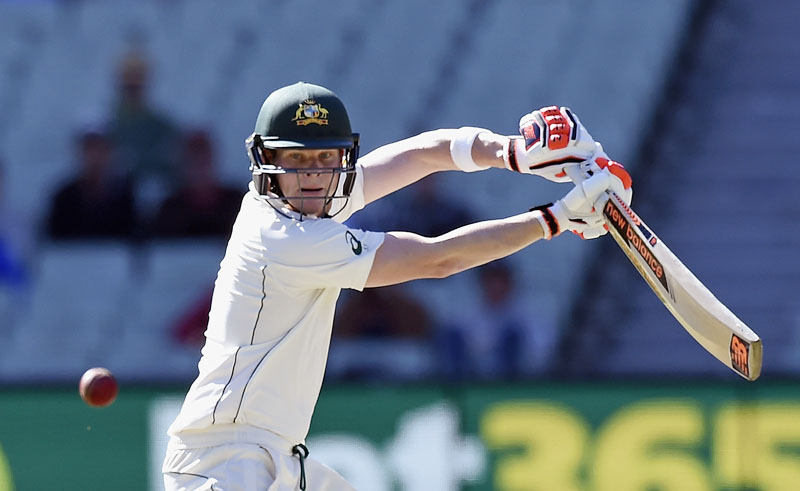 Australia's Steve Smith plays a shot against the West Indies during their second Test match in Melbourne on Monday. Photo: AP