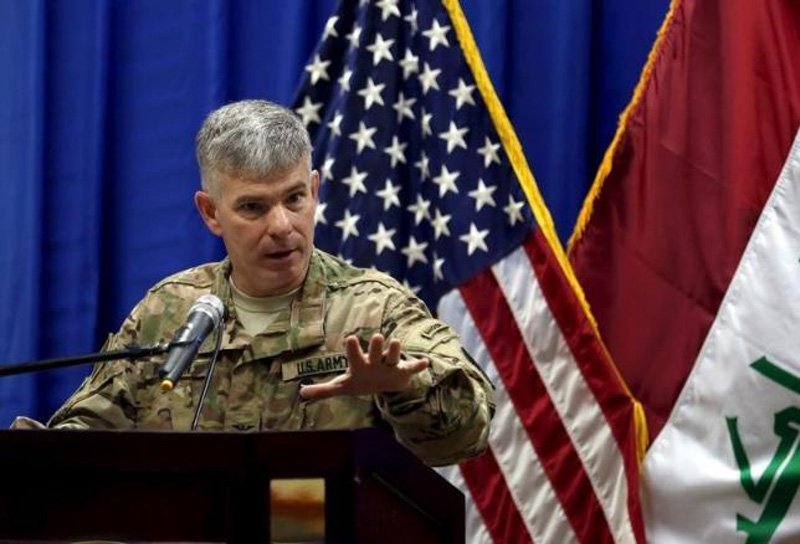 Col. Steve Warren, the new spokesman for the US-led coalition in Iraq, speaks to reporters during a news conference at the US Embassy in the heavily fortified Green Zone in Baghdad, Iraq, October 1, 2015. Photo: Reuters
